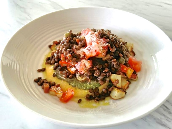 polenta with pesto and potato hash