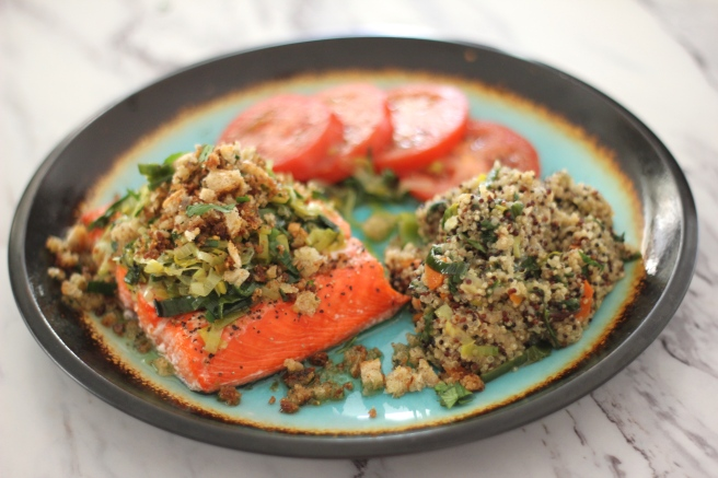 salmon with buttered leeks and lemon quinoa