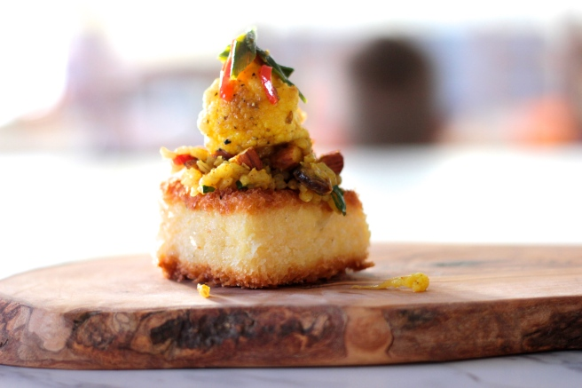 pan fried polenta and moroccan rice 1